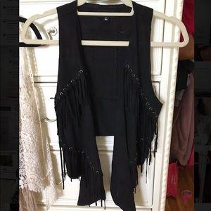 FATE suede black vest with fringe & grommet detail